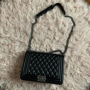 Handbags - Black Leather Quilted Bag